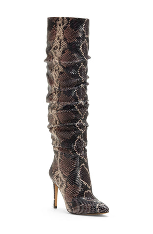 Vince Camuto Kashiana Stiletto Slouched Boot MAUVE MULTI Snake Boots