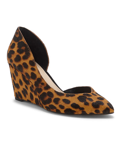 1.State Melman Leopard Wedge Low Heel D'orsay Pointed Toe Low Cut Dress Pumps