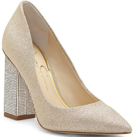 Jessica Simpson Welles Pointed-Toe Crystal-Embellished Pumps CHAMPAGNE