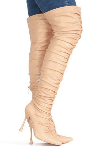 Cape Robbin Whatsis Faux Leather Thigh High Over The Knee Boots Nude