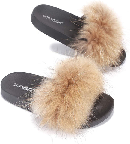 Cape Robbin Flurry Furry Fur Slides Fluffy Slippers Tan Slip On Mule Slide