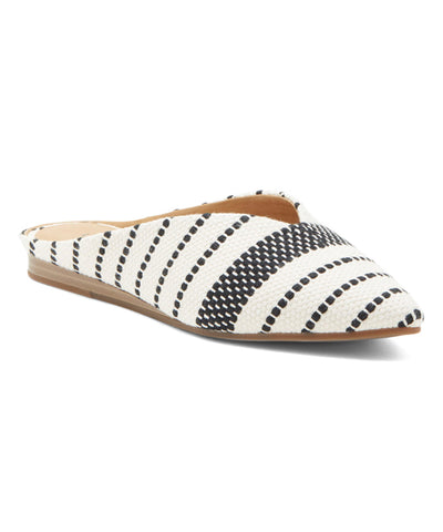 Lucky Brand BARBORA Flat Mule Black White Pointed Toe Flat Mules Slides