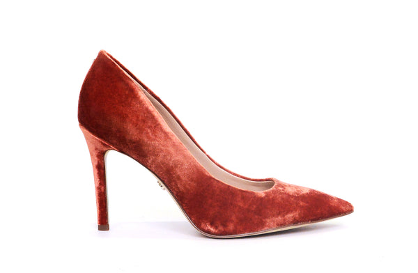 Sam Edelman Hazel Paprika Velvet Wide Stiletto Dress Shoes Pointed Toe Pump