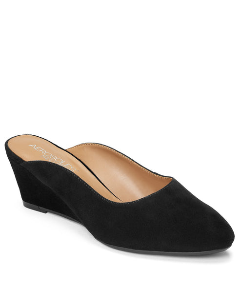 Aerosoles Encircle Black Wrapped Wedge Slip On Platform Mule Sandals