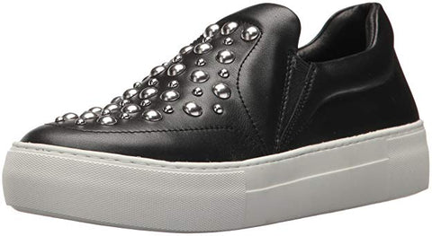 JSlides Women's Atom Fashion Sneaker Black Leather Studded Slip On Sneakers
