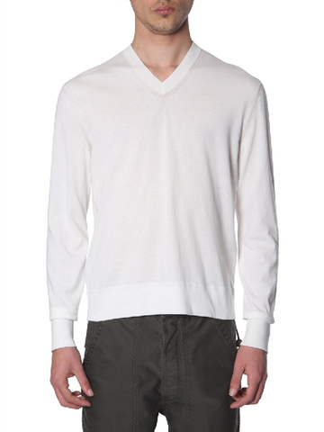 Tom Ford Men's V-Neck Cotton Long Sleeve Sweater IVORY BSC02TFK100N01