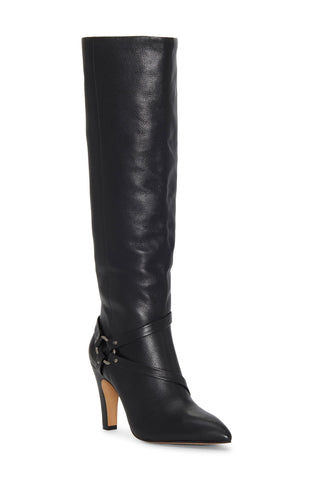 Vince Camuto Women's Charmina Pointed Toe Leather Knee High Boot BLACK