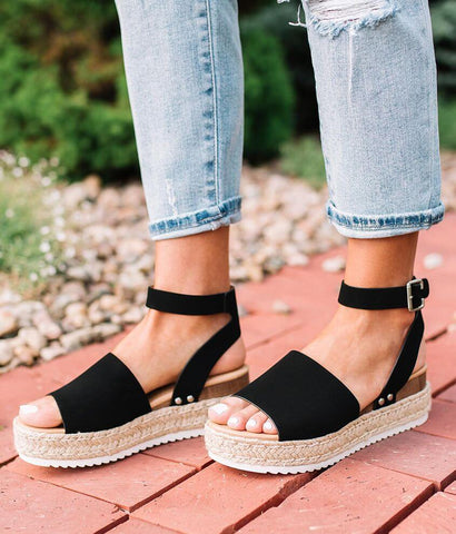 Soda Topic Black Ankle Strap PLatfrom Wedge Studded Espadrille Sandals