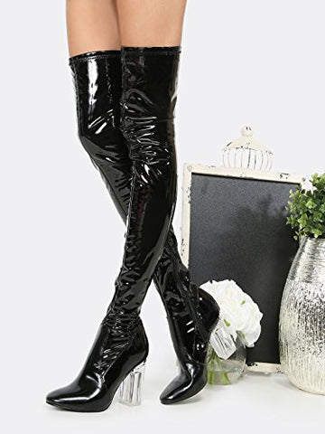 Cape Robbin Fay-2 Over The Knee Stretch Glass Heel Thigh High Boots (6.5, Black patent)