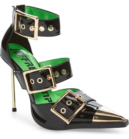 Jeffrey Campbell Dominus Black Buckle Strappy Metallic Pointy Toe Pumps