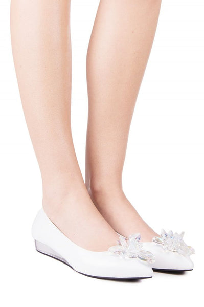 Jeffrey Campbell Jacy Crys White Box Clear Wedge Heel 3-D Flower Ballet Flats