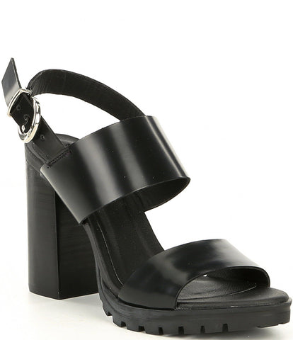 Steve Madden Women's Emil Ankle strap Heeled Dress Sandal,Black Leather