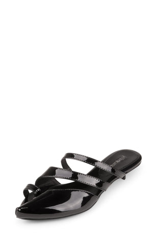 Jeffrey Campbell UNUSUAL Low Heel Sandals, Black Patent Open Toe Mule Pump