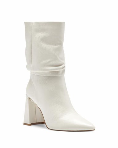 Vince Camuto AMBIE Slouch Pointed Toe Boot FLUFF White Block Heel Booties