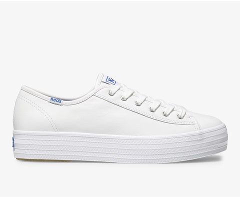 Keds Triple Kick Leather Platform Lace Up Sneakers WHITE