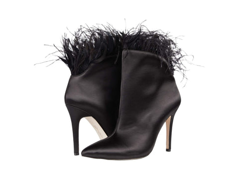 Jessica Simpson Womens Prixey Feather Trim Pointed Toe Bootie BLACK