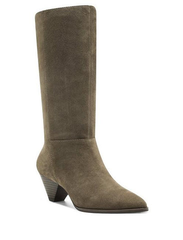 Lucky Brand Fukko Canteen Brown Suede Pointed Cone Heel Mid Calf Boot