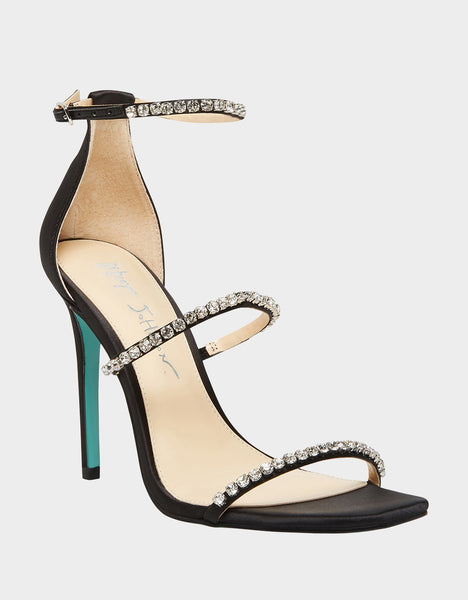 Betsey Johnson SB-Elisa Heeled Sandal Black Satin Formal Thin Strap Pump