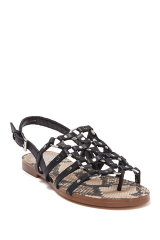 Vince Camuto Women's Richintie Leather Caged Strappy Flat Sandal BLACK