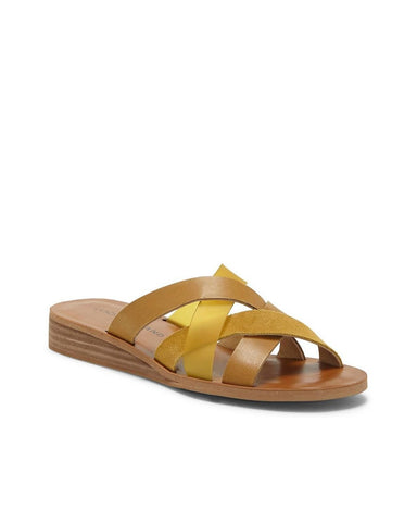 Lucky Brand Women's Hallisa  Multi Band Slide Flat Sandal GOLDEN YELLOW