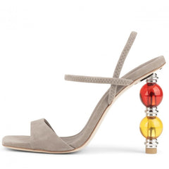 Jeffery Campbell Gema Taupe Open-Toe Stacked Orbs Heeled Strappy Sandals