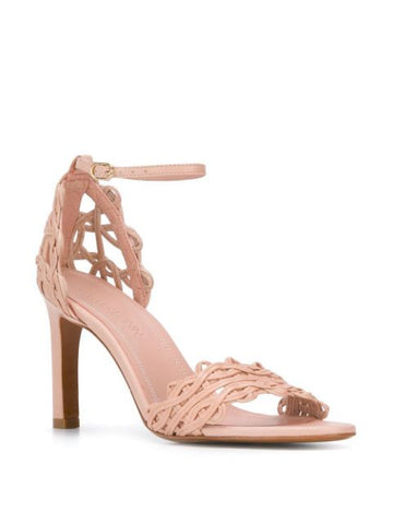 Zimmermann 2794S19 Nude Pink Leather Open Toe Leather Pumps