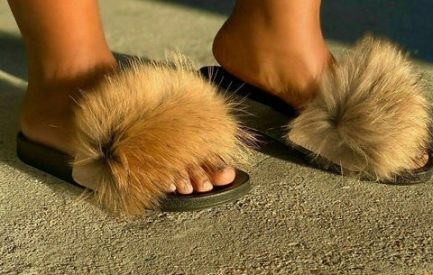 Liliana Nomi-17 Tan Luxury Real Raccon Fur Slippers Slides Flat Soles Mule