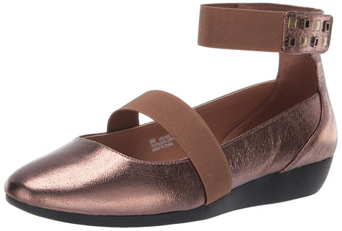 Aerosoles Arcade Bronze Metal Embellished Ankle Slip On Round Toe Mule Wedge