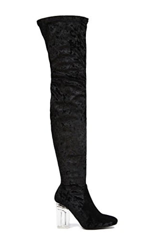 Cape Robbin Fay-2 Over The Knee Stretch Glass Heel Thigh High Boots (8, Black velvet fay-15)