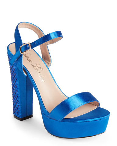 Lauren Lorraine Carly Platform Sandal Royal Blue Rhinestone Satin High Pump