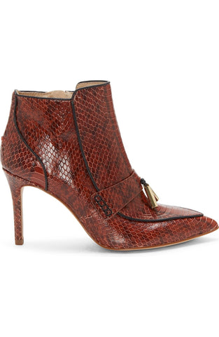 Louise et Cie SHIRO Pointed Toe Ankle Boots Tassel Burnt Tawny Snake Booties