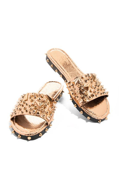 Cape Robbin Tonie Rose Gold Ultimate Edgy Slides Flat Sandal Gold Studded Mule