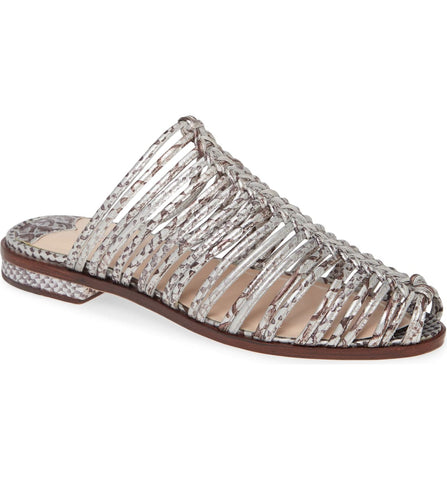 Cecelia New York Gloria Slide Sandal Silver Snake Metallic Closed Toe Caged Mule