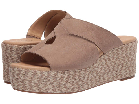 Lucky Brand Women Genzy Espadrille Slip-On Wedge Open Toe Sandal DOVE