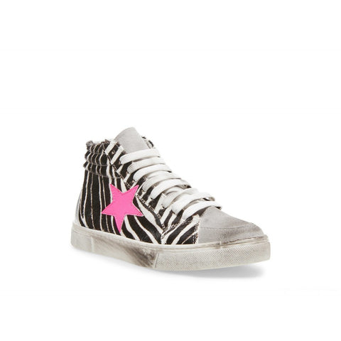 STEVE MADDEN WOMEN'S REIS LACE UP SNEAKERS ZEBRA