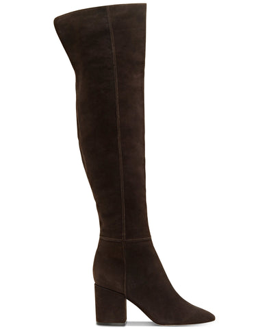 Jessica Simpson Pumella Chocolate Leather Pointed Block Heel Over The Knee Boots