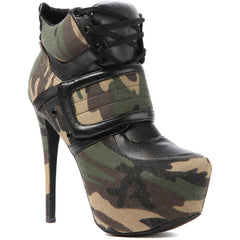 Privileged Swag Army Camo Camouflage Lace Up Platform Super High Sexy Bootie