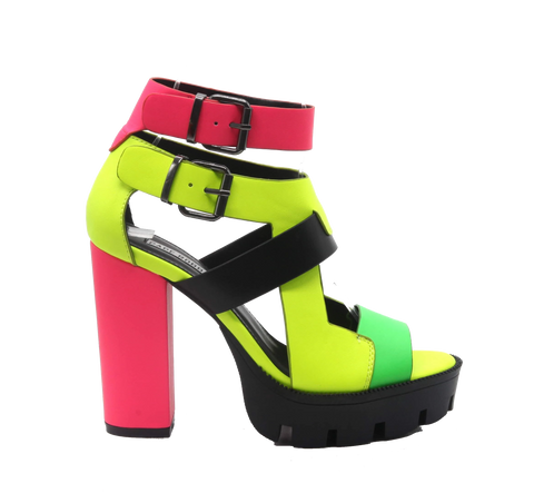 Cape Robbin Womens Titan Multi Neon Buckle Wrapped Platform Heeled Sandals