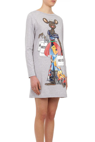 Moschino Women's Oversized 100% Cotton Dress Grey A040191401485