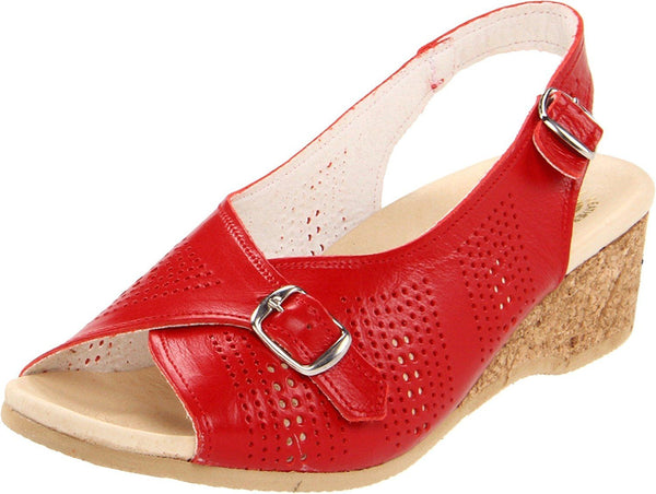 Worishofer Women's Comfort Sling-Back Sandal Red Leather Granny Sandals