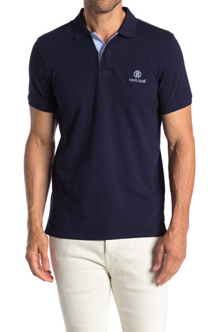 Roberto Cavalli Men's Classic Short Sleeve Polo Navy FSR671KB00504848