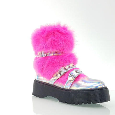FUR BABIES LUG SOLE FURRY STRAPPED COMBAT BOOTIE BOOTS SILVER HOT PINK