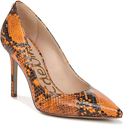 Sam Edelman Women's Hazel Pump Neon Orange Snake Pointed Toe Stiletto
