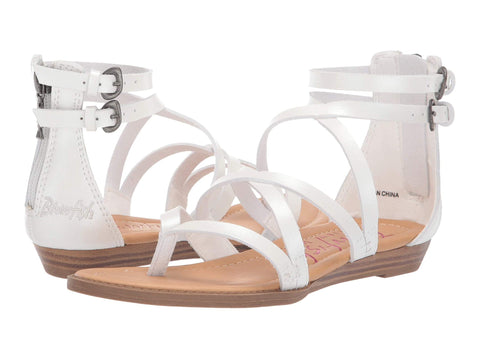 Blowfish Malibu Billa K Crisscrossed Strap Sandals Pearl White Dyecut PU