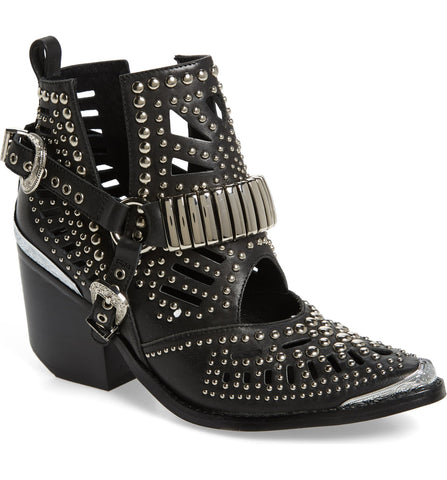 Jeffrey Campbell Wylie Black Silver Leather Cutouts Silvery Studded Western Boot