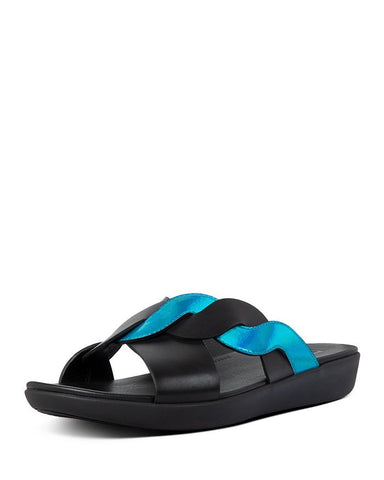 Fitflop Women's Reagan Rope Silp On Slide Sandals Black Blue Leather Slide