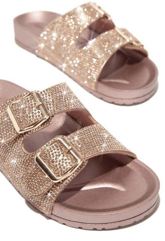 Cape Robbin Billion Dollar Double Strap Flat Slide Sandal Rose Gold Rhinestone