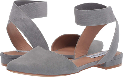 Steve Madden Uptown Grey Suede Pointed Toe Ballet Flat Elastic Ankle