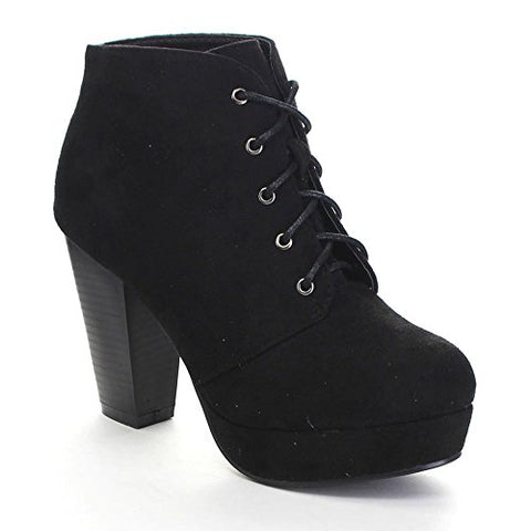 Forever Camille-86 Women's Comfort Stacked Ankle Booties, Black