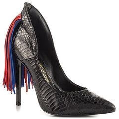 Lust For Life Women's Lark Pointed Toe High heel Snake Embossed Fringe Tail Pump (6.5, Black snake)